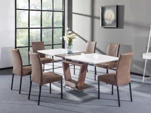 פינת אוכל מעוצבת VICTORIA עם 6 כסאות