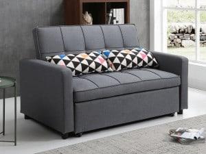 ספה דו מושבית בד אפור VIOLA נפתחת למיטה זוגית